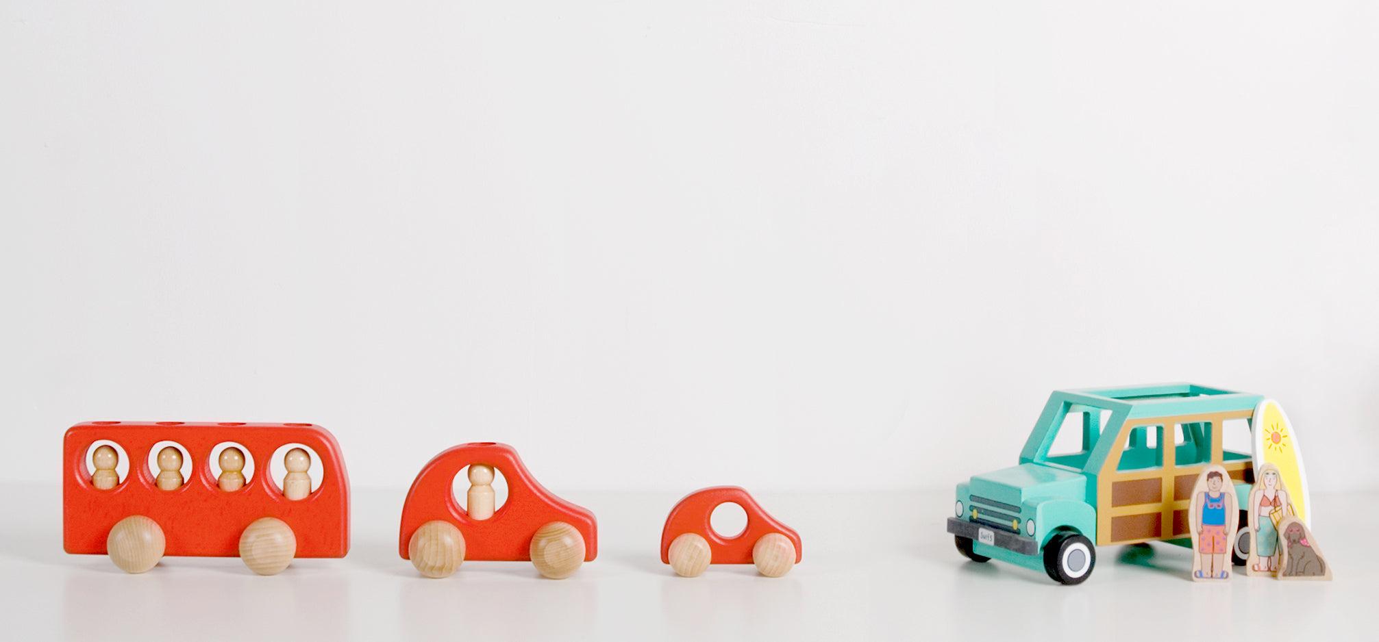 Wooden toy cars.