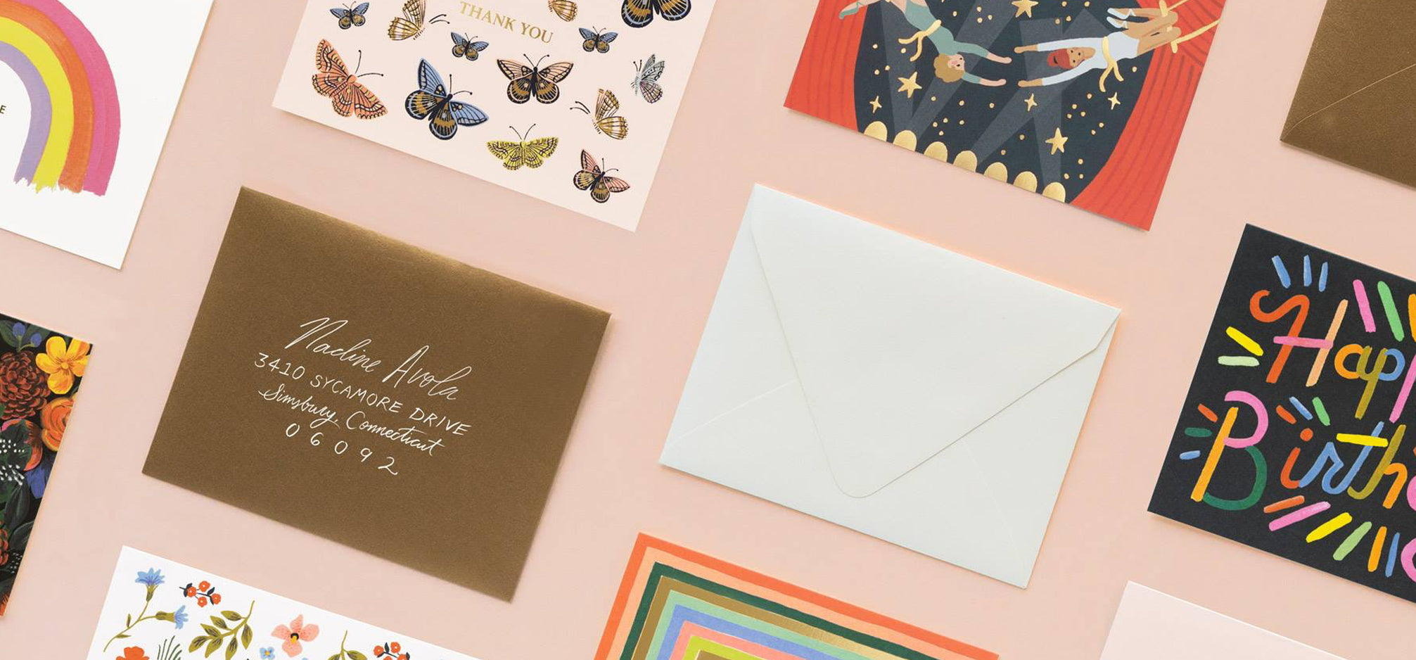 An assortment of greeting cards.