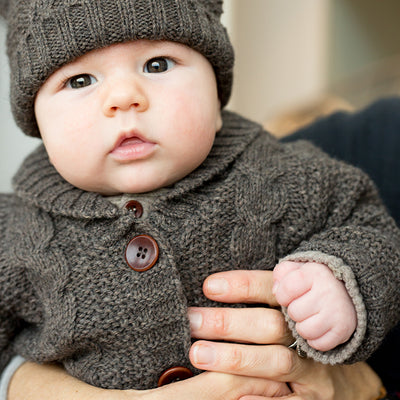 1+ In The Family Baby And Child Jungfrau Textured Knit Cardigan Grey