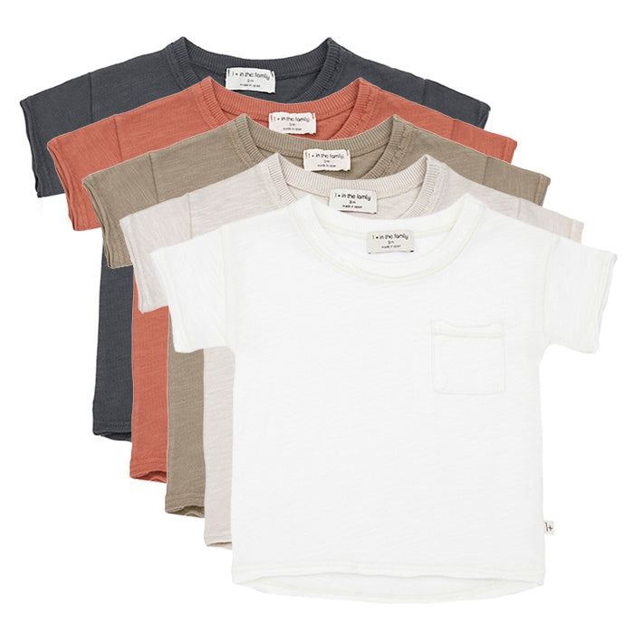 Short sleeved t-shirts in five colours.