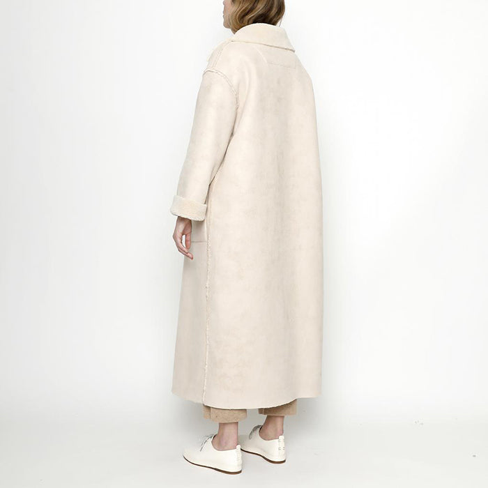 7115 By Szeki Woman Faux Suede Long Coat