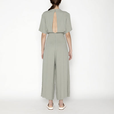 7115 By Szeki Woman Mandarin Jumpsuit Teal Grey