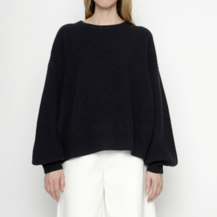 7115 By Szeki Woman Sweater With Poet Sleeves Navy Blue