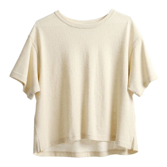 Slub knit linen jersey t-shirt in cream.