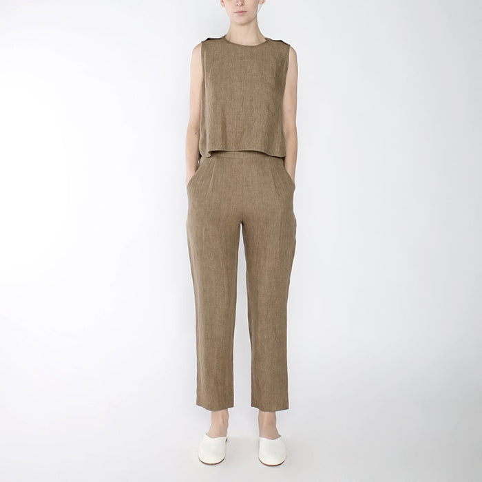 7115 By Szeki Linen Crewneck Cropped Shirt Ash Brown