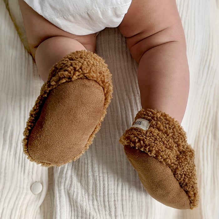 ADVICE Baby Article Two Vegan Shearling Booties Earth Brown