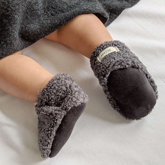 ADVICE Baby Article Two Vegan Shearling Slippers Mountain Grey