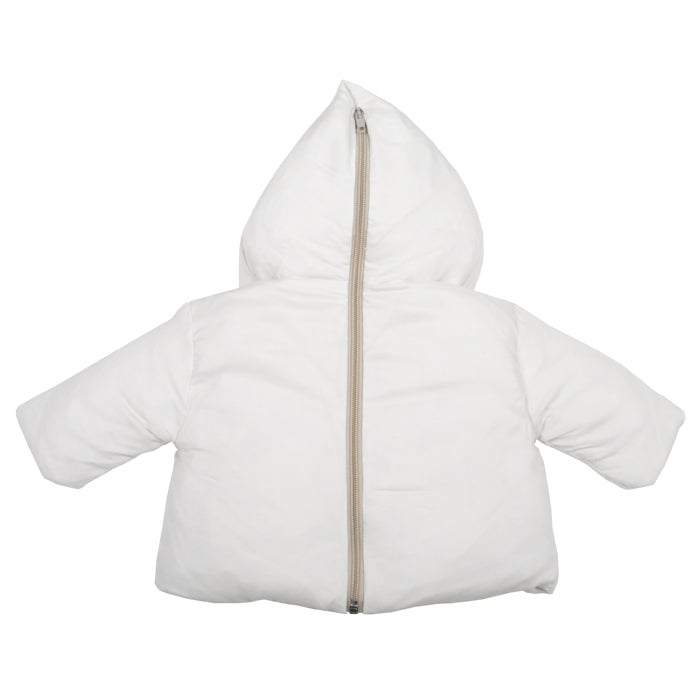 Album di Famiglia Baby Lino Coat With Zip Back Rice Off-White