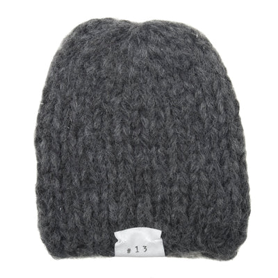 Album Di Famiglia Baby Calottina Hat Hand Knit Alpaca Anthracite Grey