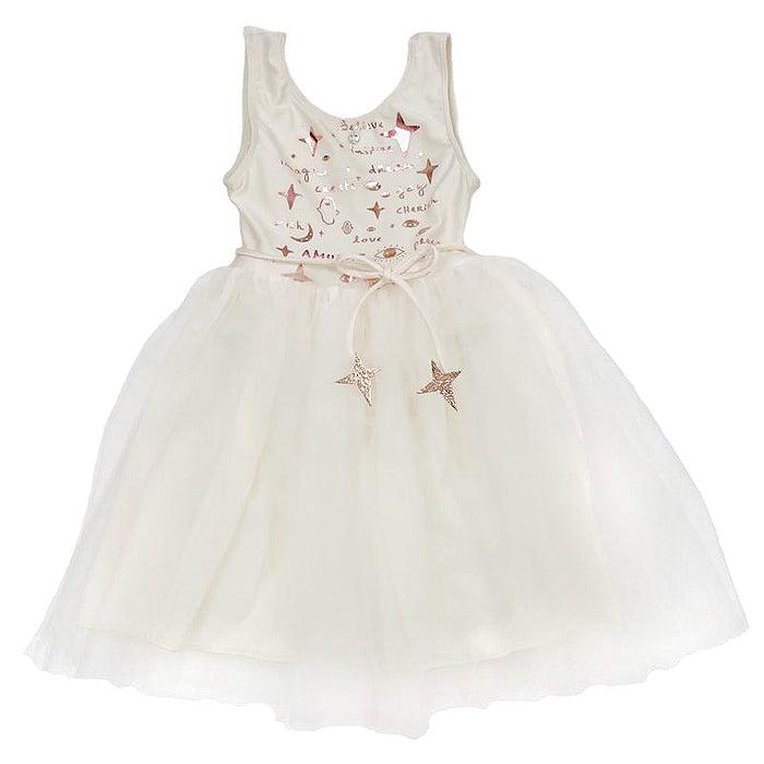 Atsuyo Et Akiko Child Amulet Dress With Rose Gold Foil White