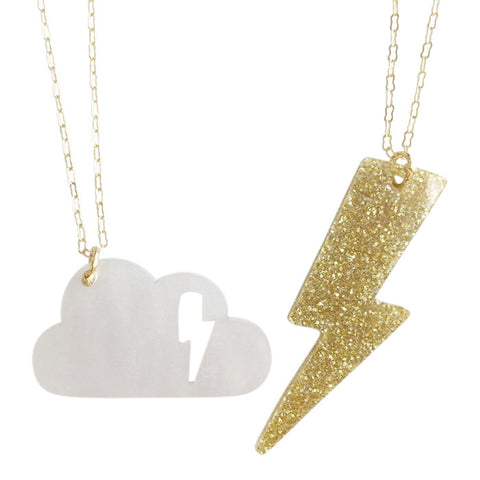 "Atsuyo Et Akiko Cloudy Necklace Set of Two 18"" Brass Chain Gold and White"