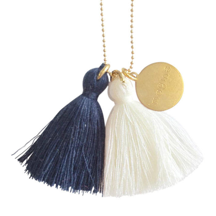 "Atsuyo Et Akiko Imagine Jewellery Necklace 22"" Gold Filled Chain Blue and Ivory - Advice from a Caterpillar"