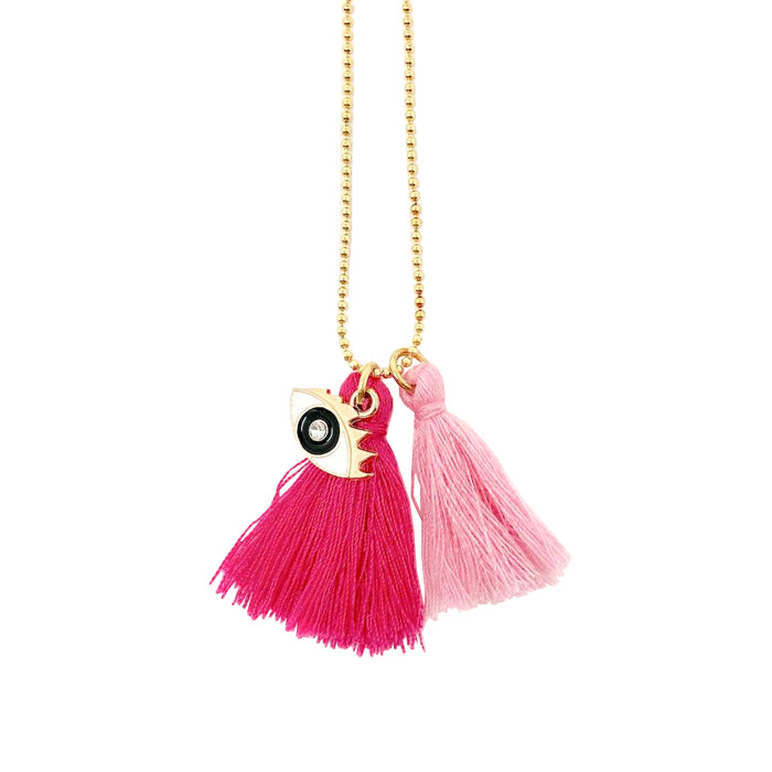 Atsuyo Et Akiko Miss Eye Chain Necklace With Tassels Pink