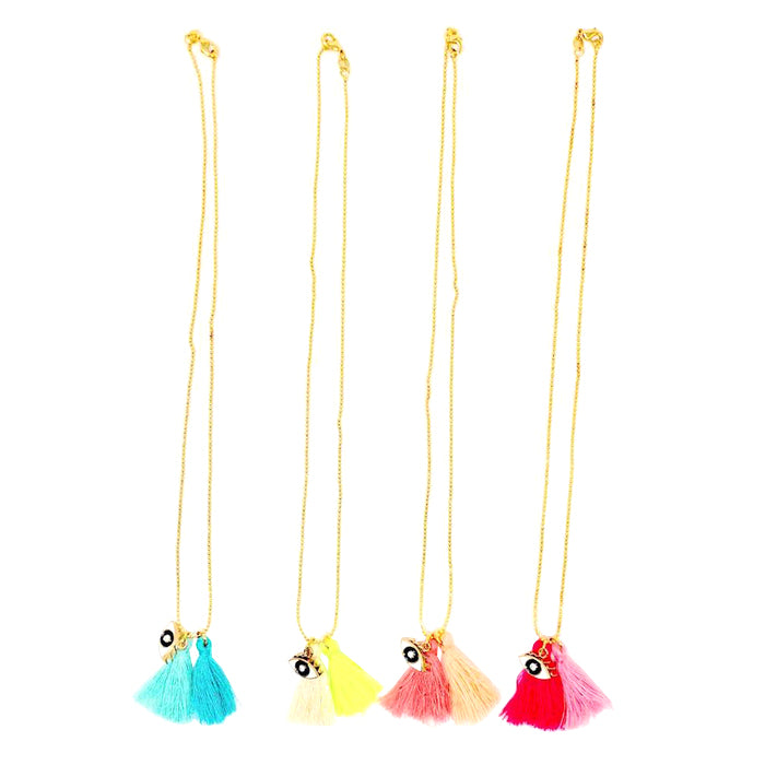 Atsuyo Et Akiko Miss Eye Chain Necklace With Tassels Yellow