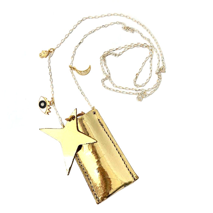 Atsuyo Et Akiko Amulet Crystal Necklace Foil Gold