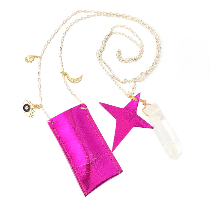 Atsuyo Et Akiko Amulet Crystal Necklace Foil Pink