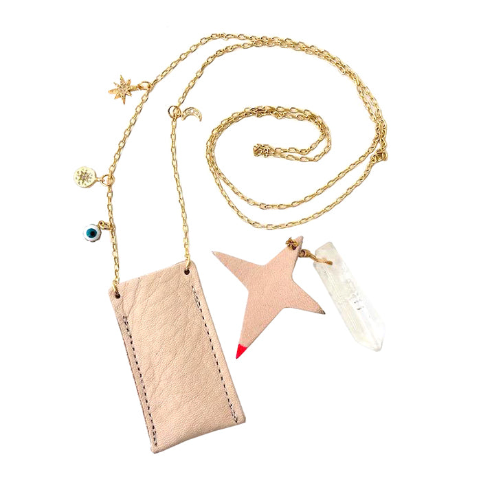 Atsuyo Et Akiko Amulet Crystal Necklace Natural Leather Pink