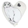 Atsuyo et Akiko Linen Heart Pillow with Cat Large White - Advice from a Caterpillar