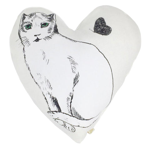 Atsuyo et Akiko Linen Heart Pillow with Cat Large White