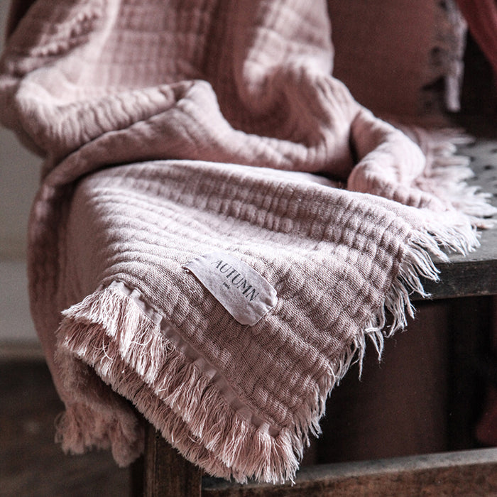 Autumn Paris Plaid Loulou Throw Blanket Antic Pink