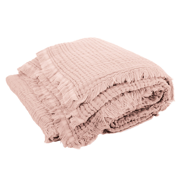 Autumn Paris Plaid Loulou Throw Blanket Nu Pink