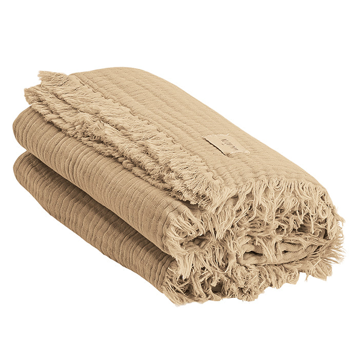 Autumn Paris Plaid Loulou Throw Blanket Sand Beige