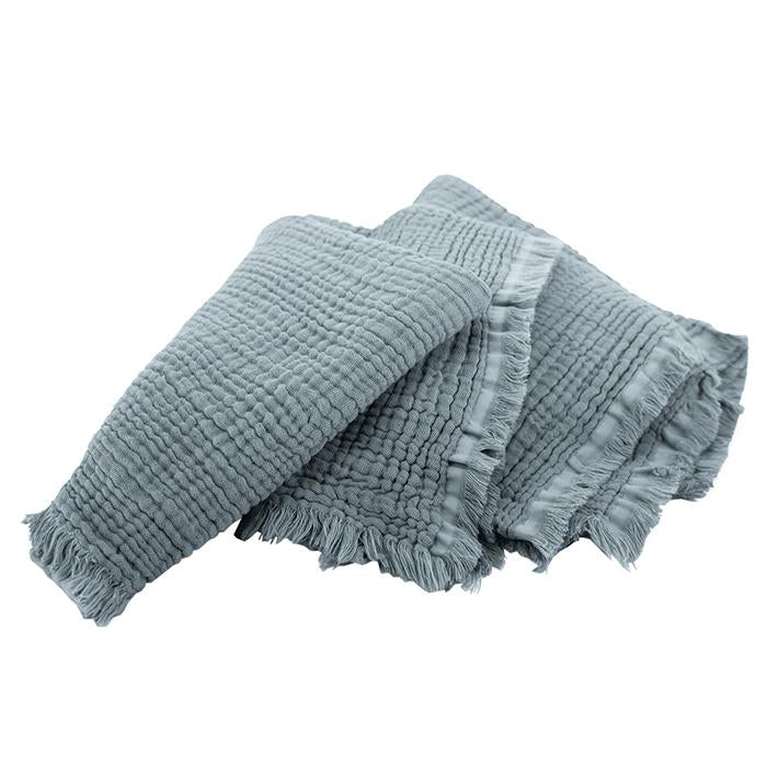 Autumn Paris Plaid Loulou Throw Blanket Cool Blue