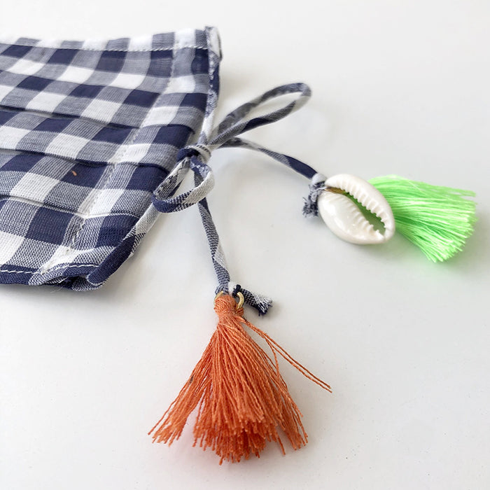 Atsuyo Et Akiko Woman Cotton Face Mask With Tassels Blue And White Gingham