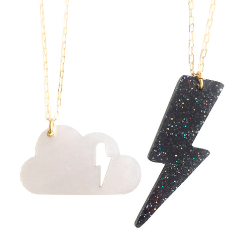 "Atsuyo Et Akiko Cloudy Necklace Set of Two 18"" Brass Chain Black and White"