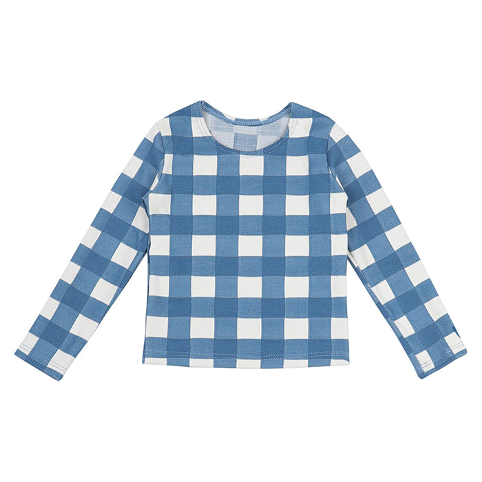 Long sleeved swim top in a white and blue gingham print.