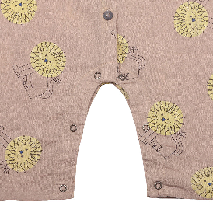 Bobo Choses Baby Jumpsuit With All Over Pet A Lion Print Beige