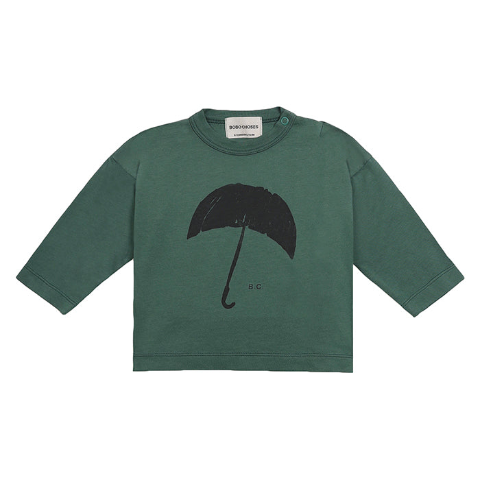 Bobo Choses Baby T-shirt With Umbrella Print Green