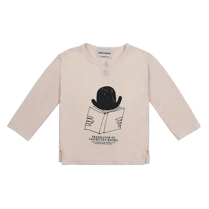 Bobo Choses Baby Henley T-shirt With Translator Print Cream