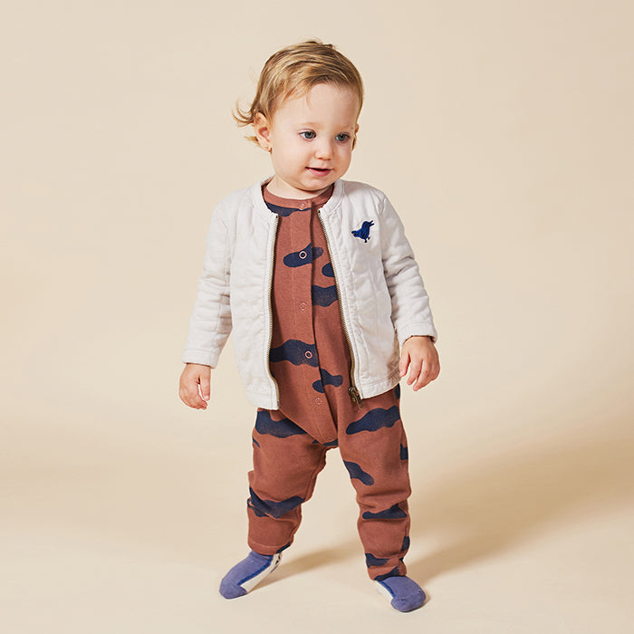 Bobo Choses Baby Jumpsuit With All Over Clouds Print Brown
