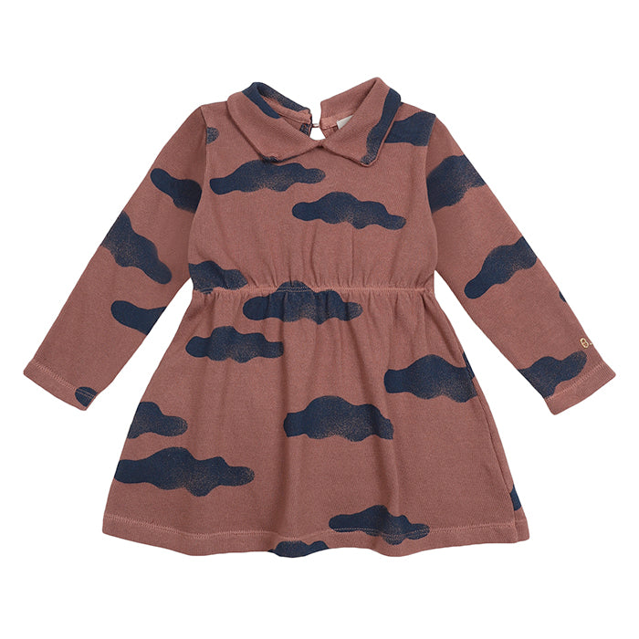 Bobo Choses Baby Dress With All Over Clouds Print Brown