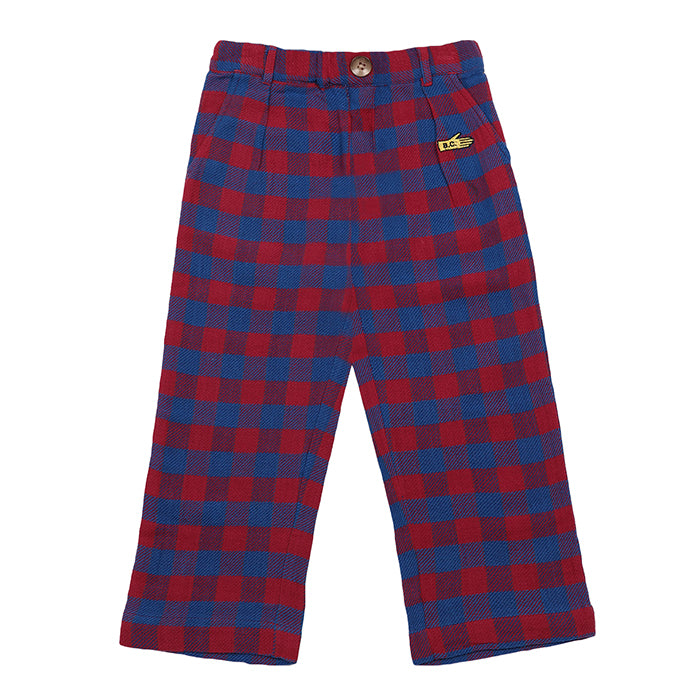 Bobo Choses Child Pants Red And Blue Plaid
