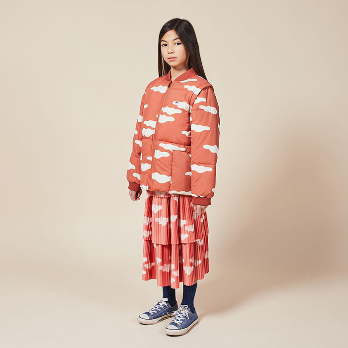 Bobo Choses Child Coat With All Over Clouds Print Brown