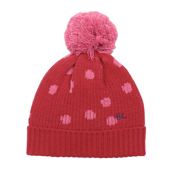 Bobo Choses Child Intarsia Knit Hat With Pompom Red
