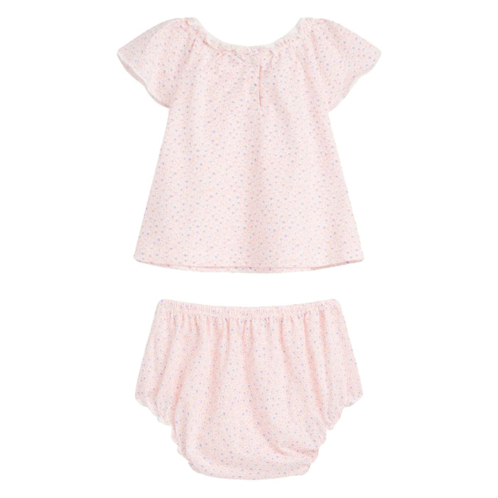 Bonpoint Baby Pyjama Set Pink With Purple Dots Print