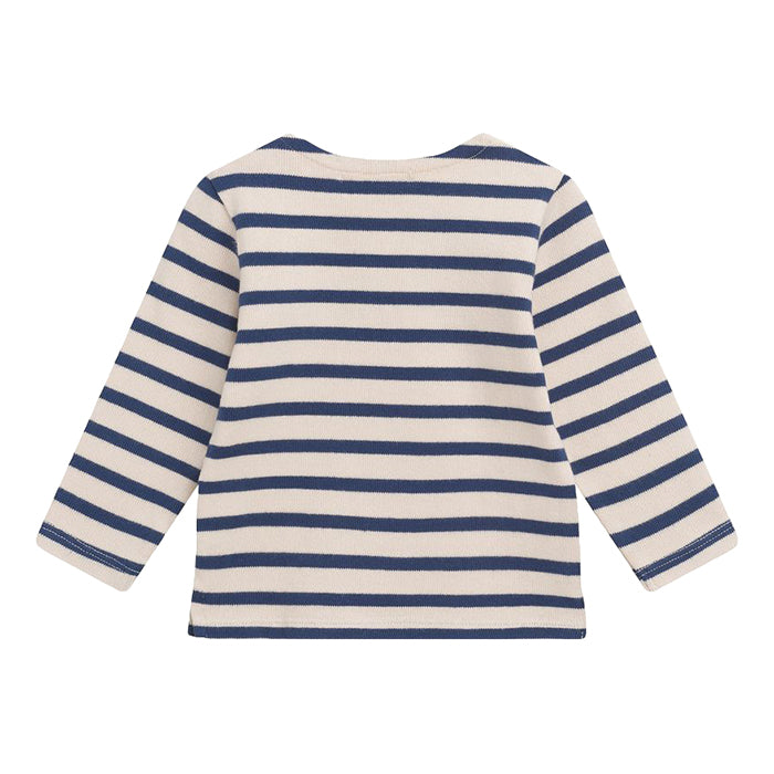 Bonpoint Baby Long Sleeved T-shirt Navy Blue Stripes