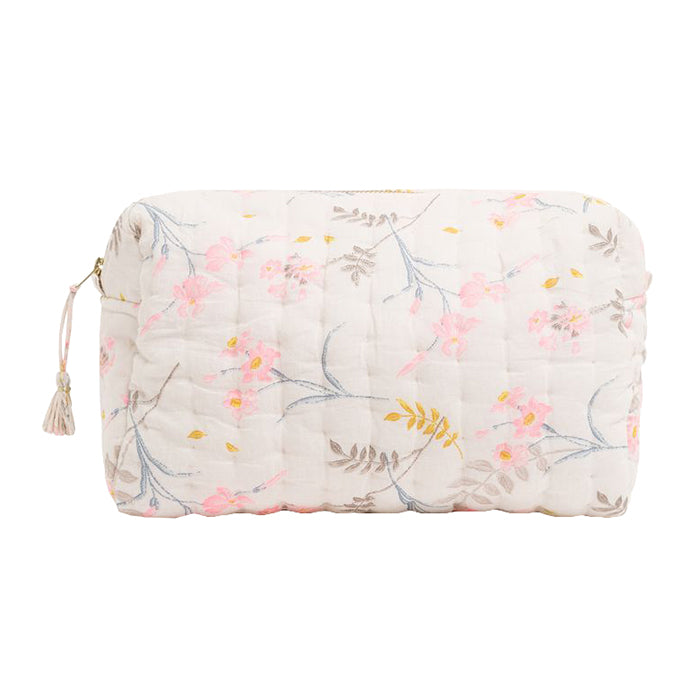 Bonpoint Cali Quilted Toiletry Bag Cream Floral Print