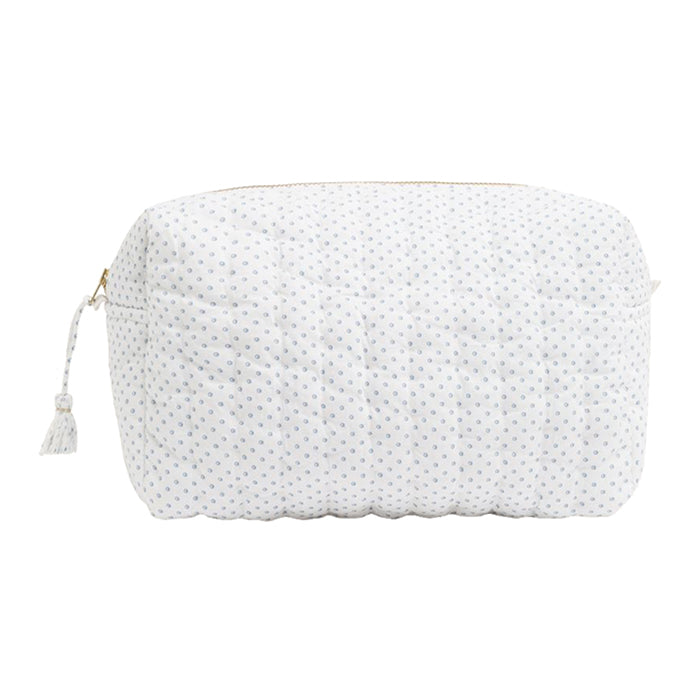 Bonpoint Cali Quilted Toiletry Bag Blue Dots Print