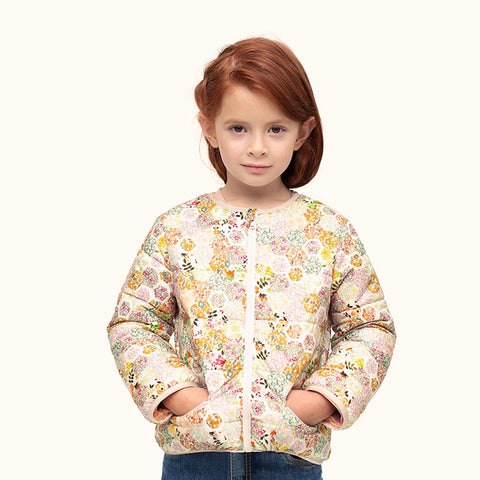 Bonpoint Child Cambridge Puffer Jacket Pink Patchwork Print