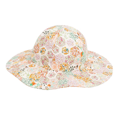 Bonpoint Child Brise Sun Hat Orange Patchwork Print