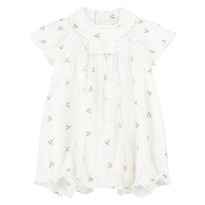 Bonpoint Baby Lotti Romper White Floral Print