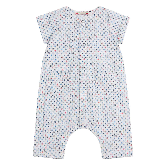 Bonpoint Baby Ninoli Romper Blue Palm Tree Print