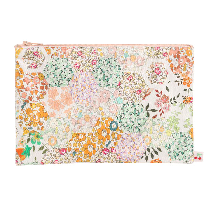 Bonpoint Zip Pouch Orange Patchwork Print