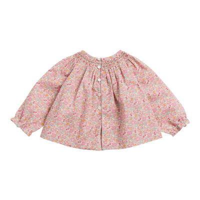 Bonpoint Baby Griotte Embroidered Blouse With Floral Print Pink