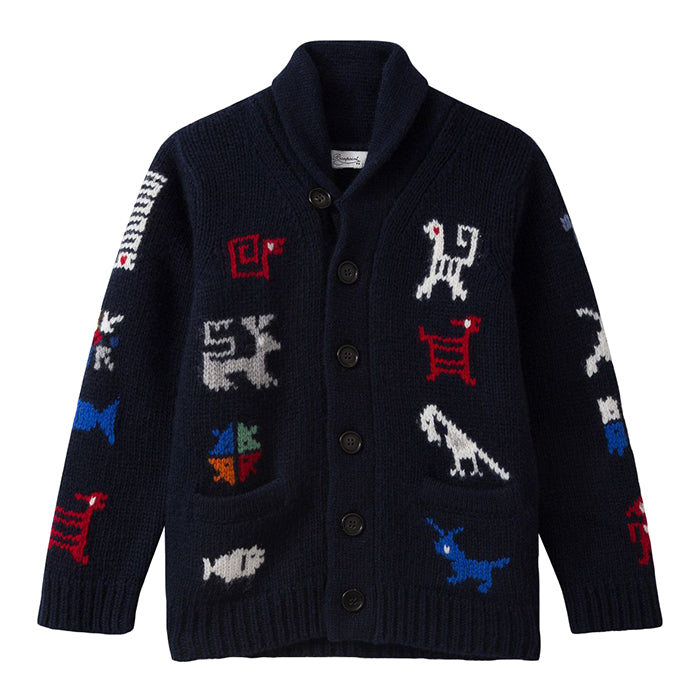 Bonpoint Child Elements Cardigan Navy Blue