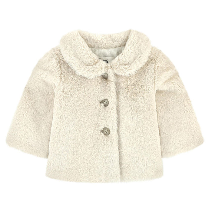 Bonpoint Baby Douceur Faux Fur Jacket Cream